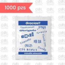 """Toallita Refrescante: """"Gracias"""" (varios idiomas)"""